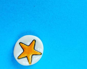 Star lapel pin, small space badge, star tie pin, hand painted ceramic badge, uk seller only
