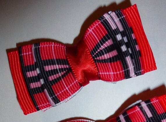 Puppy Bows ~ 3 Pawberry red/pink/black plaid pet hair bow latex band ~Usa seller (fb88)
