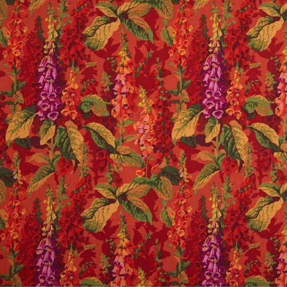 FOX GLOVES in Hot Red Philip Jacobs for Kaffe Fassett Collective Sold in 1/2 yd increments