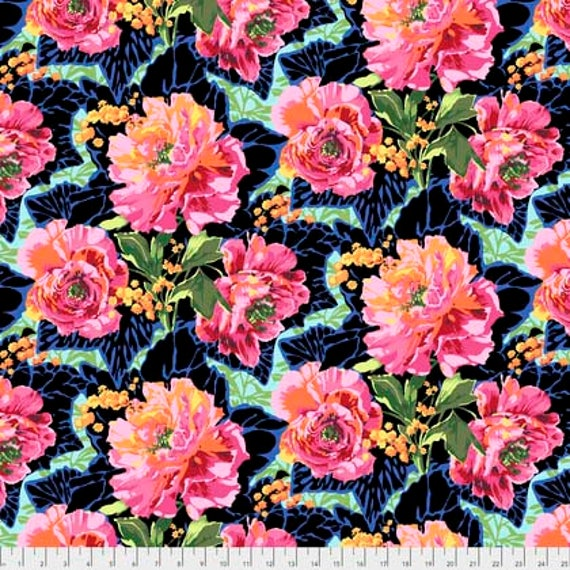 PEONY AND LEAVES  Deco Philip Jacobs Snow Leopard Design Sold in 1/2 yd increments