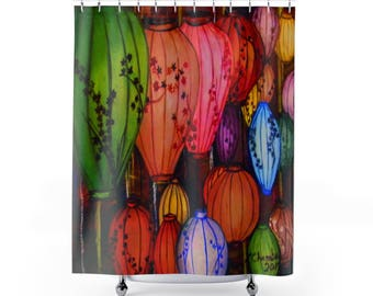 Chinese Lanterns Fabric Shower Curtain Bathroom Decor Designer Shower Print Shower Curtain Bathroom Curtain Photography by LindaChambers