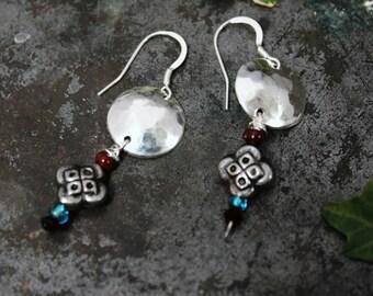 Sterling silver moon and bead disc earrings. Handmade Domed Disc earrings. Boho Gypsy.