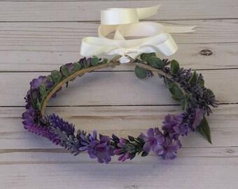 Boho Lavender Flower Crown, Amethyst Flower Girl Flower Crown, Purple Wedding, Photo Shoot Crown, Lavender Floral Headband, Maternity Shoot