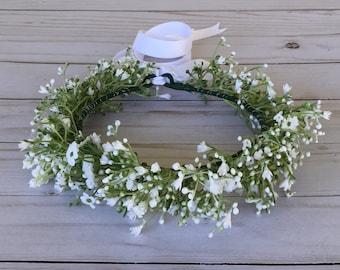 Baby's Breath Flower Crown, White Boho Flower Crown, Flower Girl Flower Crown, Child Floral Crown, Boho Flower Girl, All White Flower Crown