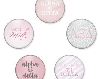 Alpha Xi Delta Button Set / Alpha Xi Pin Back Buttons / AXiD Sorority Button Pack / Alpha Xi Delta Magnet Set / Alpha Xi Magnets / Bid Day