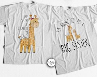 Big Sister Announcement Shirt Big Sister Shirt I'm Going to be a Big Sister Giraffe Shirt