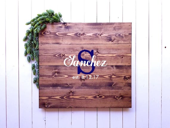Wedding Guest Book Sign Custom Monogram Name Sign Rustic Guestbook Signature Sign Guest Book Alternative Family Name Sign