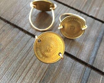 Argentina Sun Coin Ring