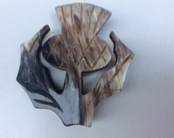 Vintage Hand Carved Horn Scottish Thistle Brooch - Thistle Brooch