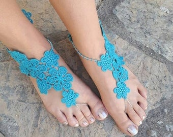 Blue lace Barefoot sandals..French lace  Barefoot sandals beachBarefoot sandals..bridesmaid gifts..bridal barefoot sandals lace anklet