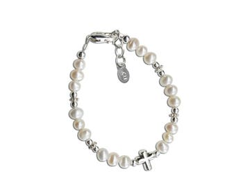 Sterling Silver White Freshwater Pearl and Cross Bracelet for Baptism Gift, Christening, or First Communion Gift (Emily)