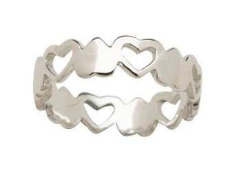 Sterling Silver Baby Ring with Hearts for Girls (BR-70 Hearts)