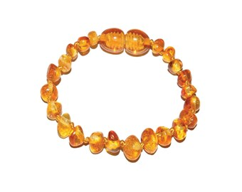 Genuine Baltic Amber Teething Bracelet Baroque Honey Polished (ATBP-BQ-Honey)