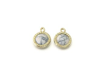 Howlite Gemstone Pendant . Jewelry Craft Supplies . Polished Gold Plated over Brass  / 2 Pcs - DG070-PG-HW