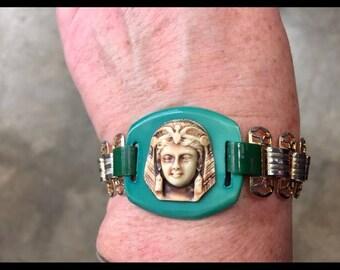 "Vintage Lucite Egyptian Revival Bracelet 6"""