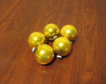 "lot 5 vintage 1950s Shiny Brite glass Christmas tree ornaments deocrations gold 2 1/2"" diameter (52017cc)"