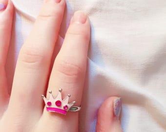 Pastel crown adjustable ring