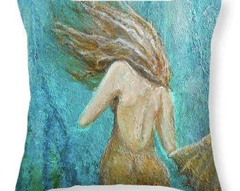 Mermaid throw pillow,  beach house decor, mermaid gift, original painting by Nancy Quiaoit at NancyQart