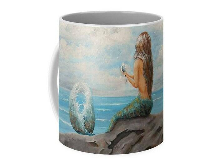 Little mermaid art mug, mermaid coffee mug, unique mermaid cup, original painting by Nancy Quiaoit