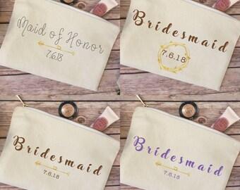 Rustic wedding, Bridesmaid makeup bag, bridal party, cosmetic bag, fall wedding, wedding, maid of honor, wedding decor, personalized