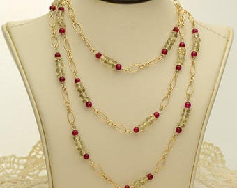 Gold and Dark Pink Citrine Necklace 51ct (B91N)