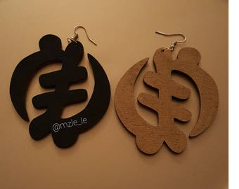 Black and Gold Gye Nyame earrings