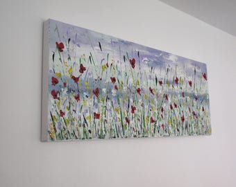 """Abstract Floral Painting Contemporary Abstract Acrylic Textured poppies palette knife painting on box canvas 40"""" x 16""""  ~  100x40cm"""