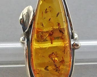 Handmade genuine  Baltic amber sterling silver  ring.