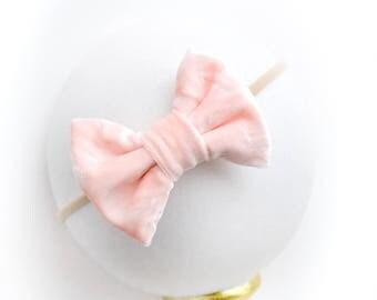 Peaches & Cream Crushed Velvet Bow