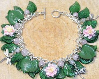 Lily Pond Bracelet - Handmade Polymer Clay Jewellery with Lilies, Lily Pads, and Dragonflies