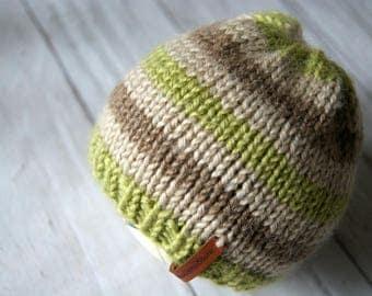 Baby Boy Beanie, Striped Baby Boy Hat, Newborn Knit Hat Boy, Hand Knit Baby Hat, Beige Hat Baby Boy, Newborn Hat , Newborn Baby Hat