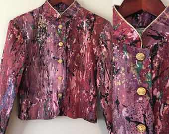 Paint Splattered Pink Lavender Medium Jacket Mandarin Collar Lightweight Avant Garde Street Style Brooklyn Petite