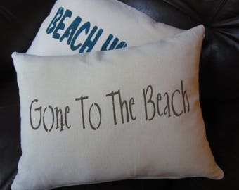 Gone To The Beach, hand stenciled cotton throw pillow