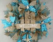 Beach Welcome Mesh Wreath, Beach Burlap and Mesh Wreath, Summer Wreath, Welcome Wreath, Beach Decor