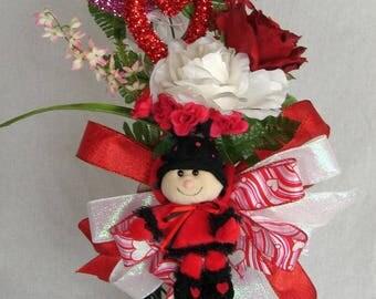 "Valentine's Day Lantern Swag, ""Love Bug"" Lantern Swag, Holiday Mantle, Holiday Table Decoration, Lantern Swag"
