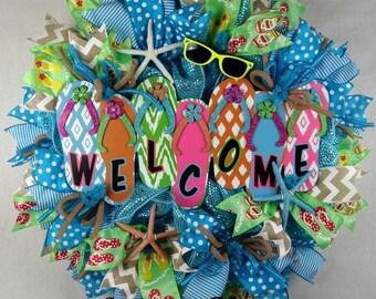Flip Flop Welcome Ruffled Mesh Wreath, Beach Wreath, Summer Wreath, Flip Flops Wreath, Welcome Wreath
