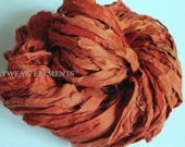 Pure Sari Silk, Pumpkin Puree, Per Yard, Fair Trade, Textile, Art Yarn, Orange Silk, Bracelet Ribbon, Fabric, ArtWear Elements, #15