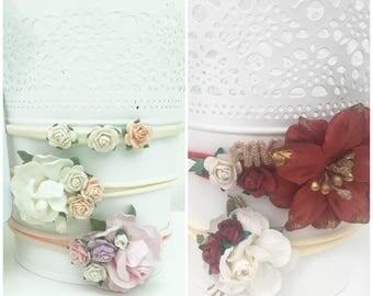 Floral Headband, Flower Headband, Elastic Headband, Newborn Headband, Bow Headband, Girls Headband, Pastel Headband, Christmas Headband