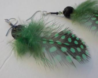 Jewelry SALE, Feather Earrings, Green Earrings, Lightweight Earrings, Green Feather Earrings, Handmade Earrings, Fun Earrings, Hanging