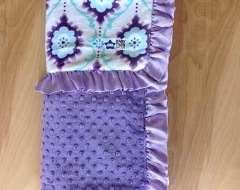 30x36 Baby Blanket - Mint Flourish/ Purple