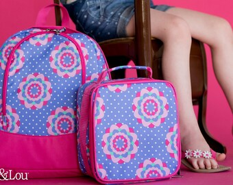 Pink and Purple Zoey Preschool Back to School  Backpack Lunchbox Blanket