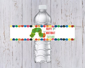Very Hungry Caterpillar Birthday Water Bottle Labels