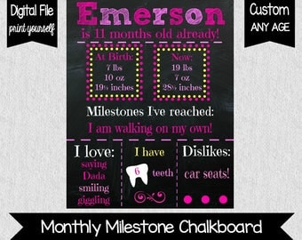 Monthly Milestone Chalkboard File - BLUE or PINK - Monthly Milestones - Blue or Pink 9 Month Chalkboard - CUSTOM - 6 Months - 9 Months