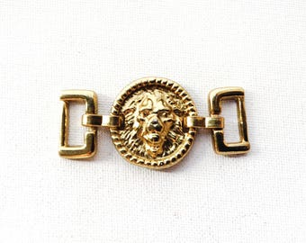 Golden Brass Lion Connector Charm - 1 pc
