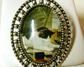 Cat with dominos brooch - CAP02-003