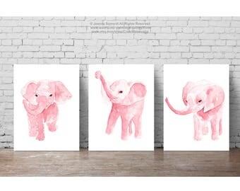Canvas Blush Pink Elephant Watercolor set 3 Art Prints Nursery Baby Girl Girls Room Decor Watercolor Painting Children Animal Kids Elephants