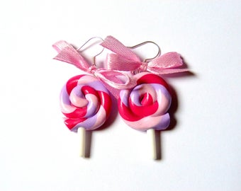 Delicious earrings, pink multi-colored lollipops