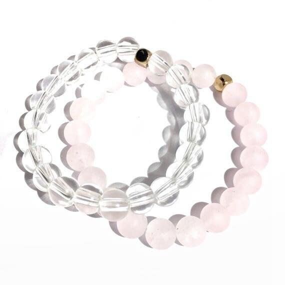 Love & Guidance Stack: Matte Rose Quartz and Clear Quartz Beaded Braceletgold plated knot cover, gemstone, love, valentines, yoga, her, gift