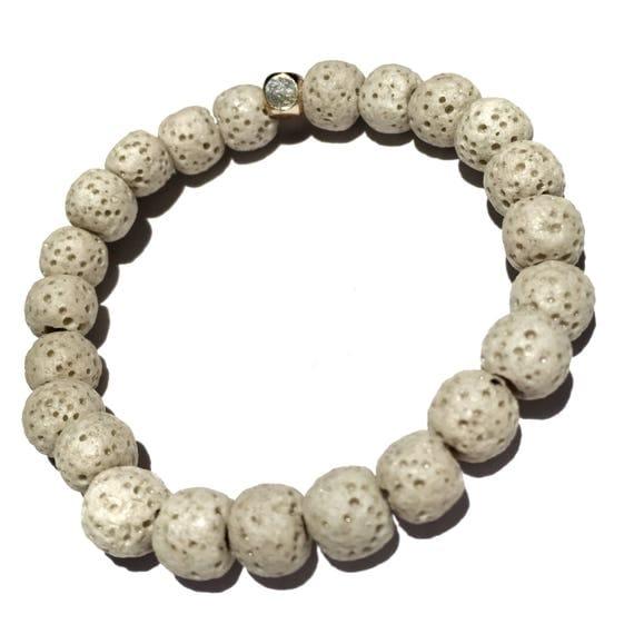 Natural Off White Raw Lava Stone Oil Diffuser Beaded Charm Bracelet, Aroma Therapy, Custom, Mala, Yoga, Meditation, Unisex, Men, Women
