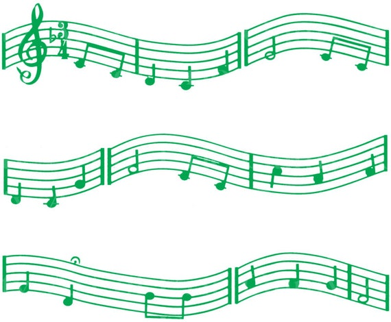 Green Music Band Notes - Birthday Background - Designer Strips - Edible Cake Side Toppers- Decorate The Sides of Your Cake! - D22678